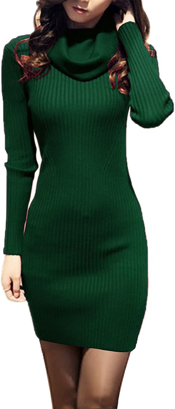 Women Cowl Neck Knit Stretchable Elasticity Slim Fit Sweater Dress