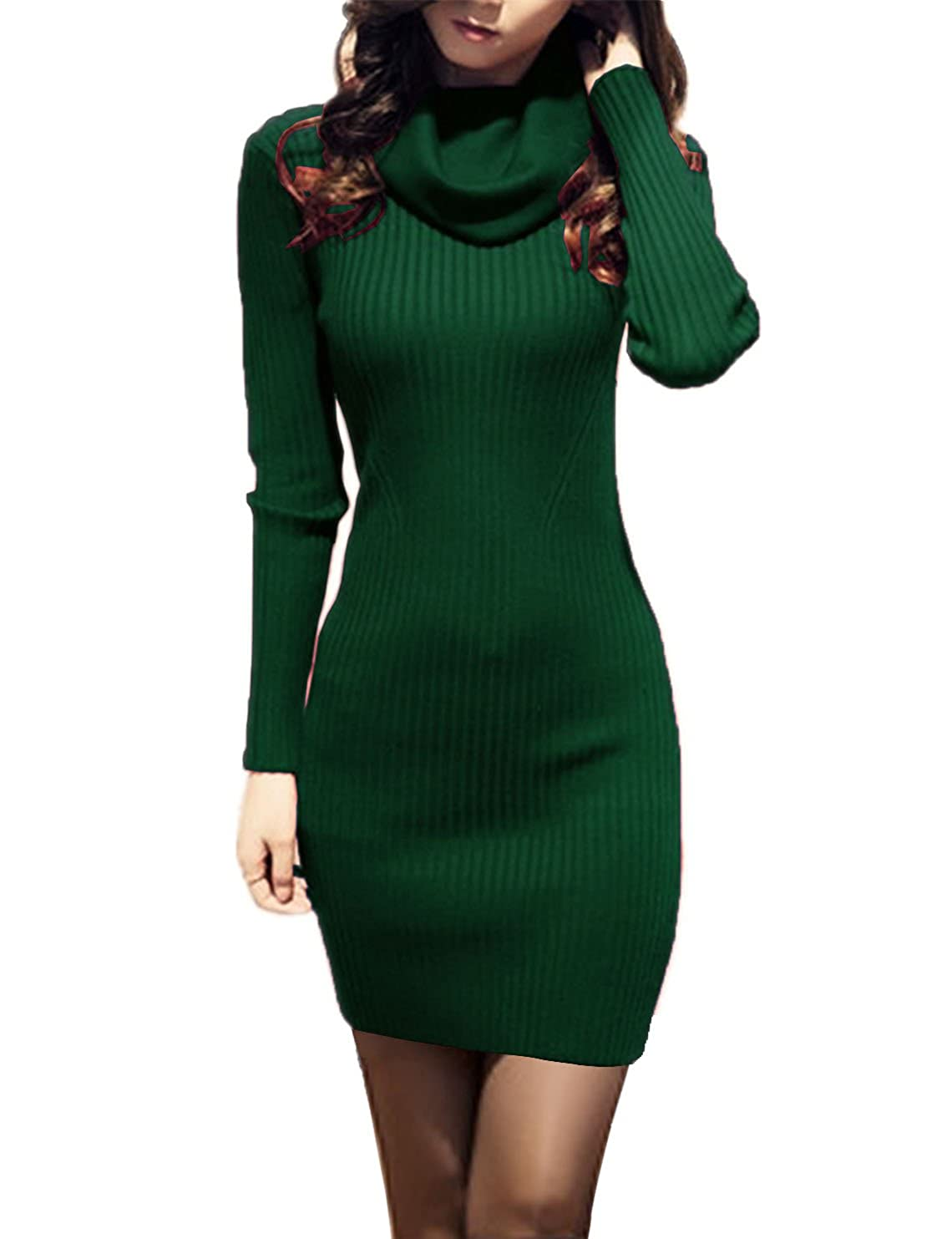 V28® Women Cowl Neck Knit Stretchable Elasticity Long Sleeve Slim Fit Sweater Dress
