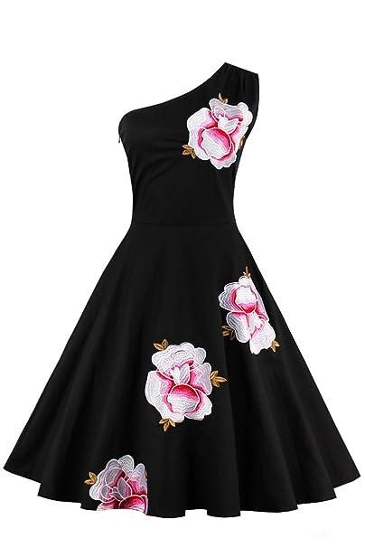 Babyonlinedress Vestido vintage para mujer estilo casual y elegante hombro solo sin mangas vestido de fiesta