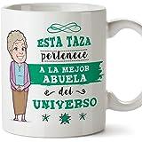 MUGFFINS Abuela Tazas Originales de café y Desayuno para Regalar a Abuelas - Esta Taza Pertenece a la Mejor Abuela del Universo - Cerámica 350 ml