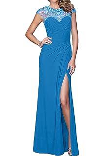 Topkleider Damen Elegant Rot Paillette 2019 Chiffon A-Linie Schlitz  Ballkleider Partykleider Tanzkleider Abendkleider Lang aa4301089a