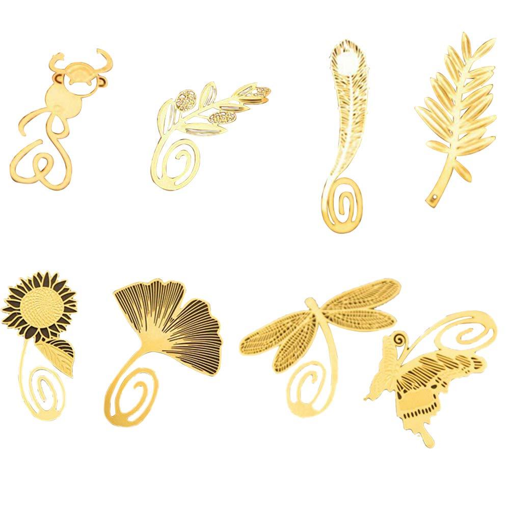 5.5 * 3.5cm Mini segnalibri in rame dorato 5Pcs con clip e ciondolo a forma di gufo Nowbetter studenti lettori per bambini