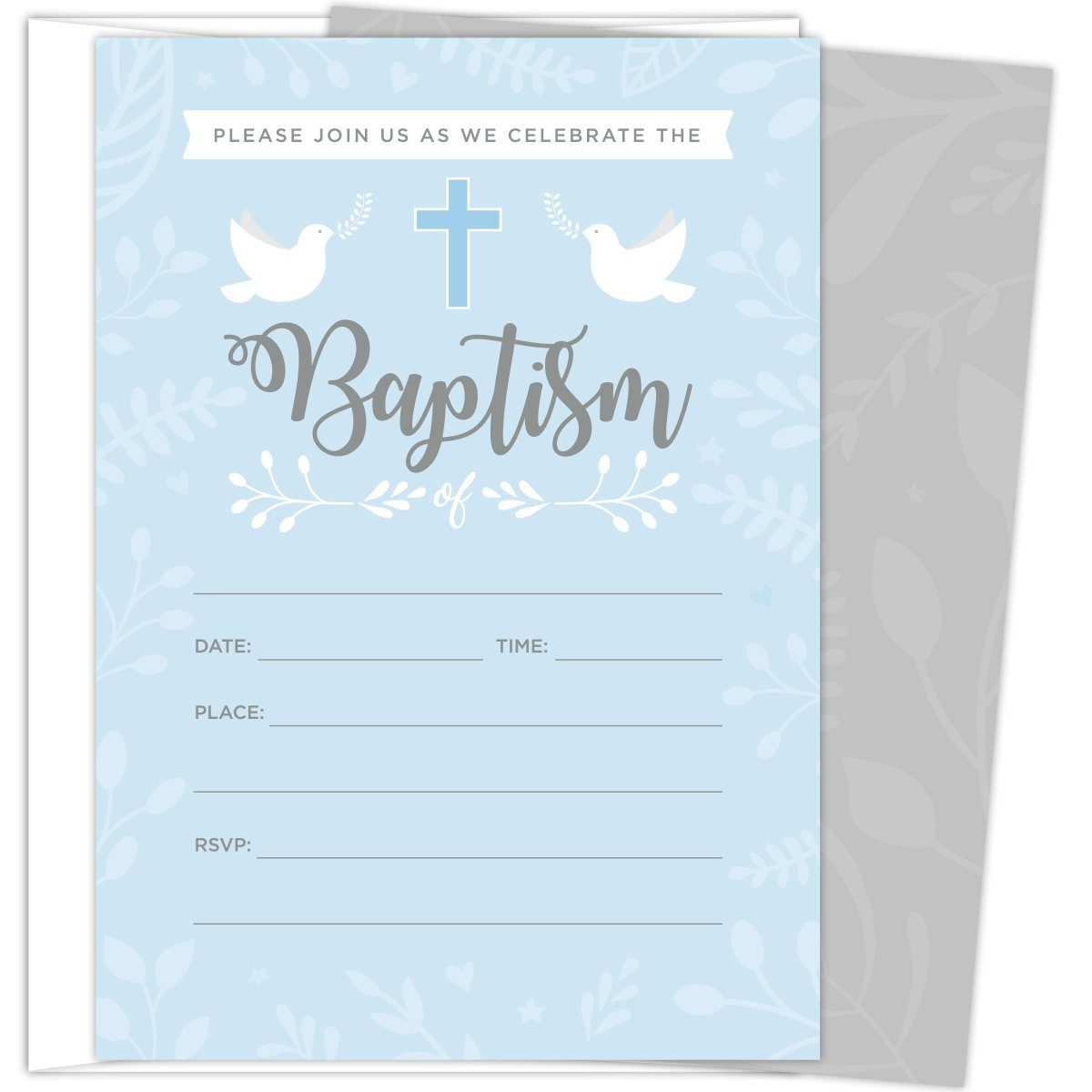 Baptism Invitations for Baby Boys, 25 Fill In The Blank Style Cards and Envelopes. by Koko Paper Co (Image #1)