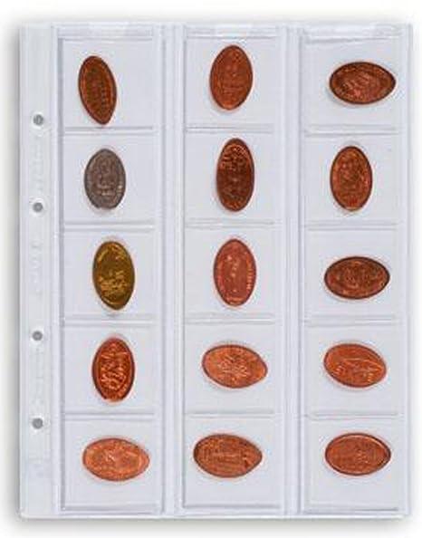 Leuchtturm 338032 Hojas Optima, para 15 Monedas de hasta 42 mm Ø, Transparentes