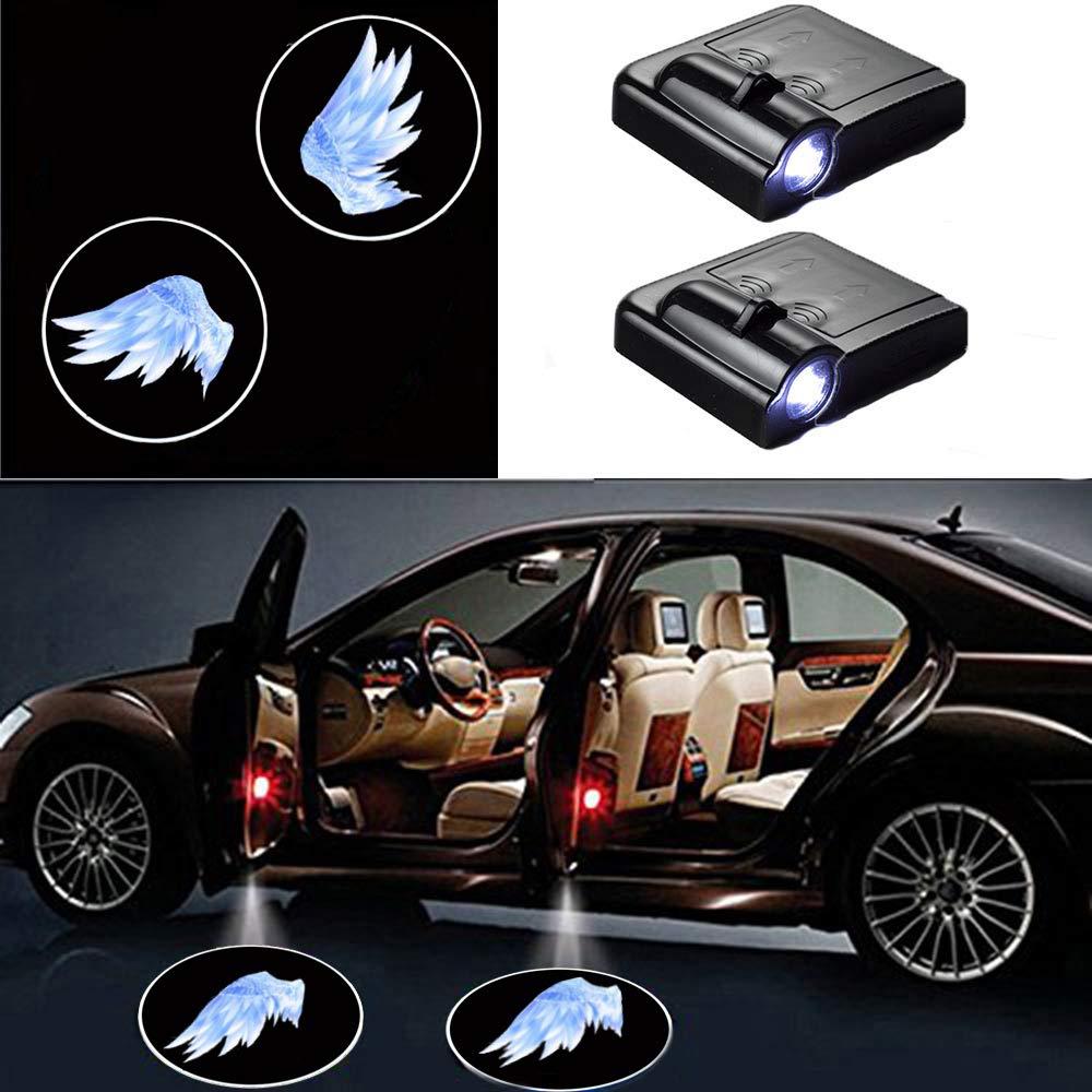 2 Pcs Car Door Welcome Skull Logo Light MIVISO LED Car ProjectoLr Universal Wireless Magnetic Sensor Shadow Logo Light