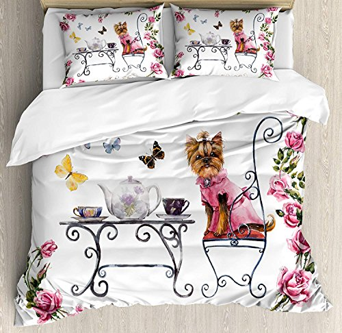 VCFUN Family Comfort Bed Sheet Yorkie Yorkshire Terrier in Pink Dress Having a Tea Party Tea Time Butterflies Roses Pale Pink White, 4 Piece Bedding Sets Duvet Cover Oversized Bedspread, King Size (Tea Rose Bedspread)