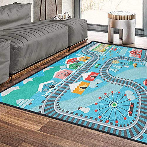 Kids Activity Ultra Soft Indoor Area Rugs,Lovely City in The Winter Train Track Activity in Cartoon Drawing Style Provides Protection and Cushion for Floors Multicolor 79