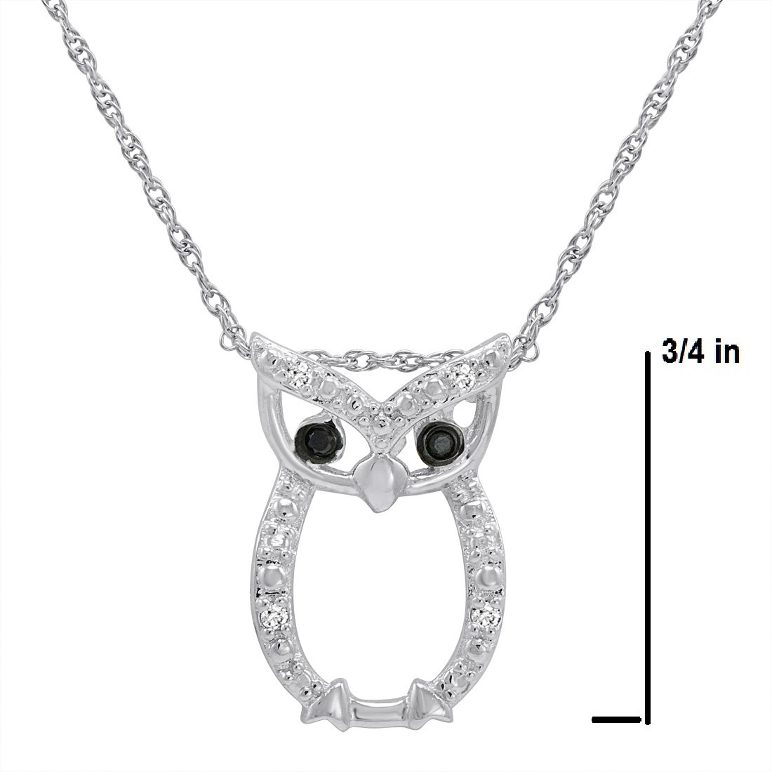 7944c2a784123 Sterling Silver Owl Pendant-Necklace with Black and White Diamond