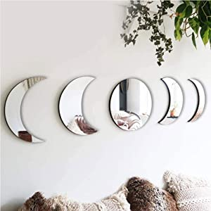 N-B 5PCS Removable Acrylic Mirror Setting, Nordic Style Wooden Decorative Mirror Moon Phase Mirror,Wall-Mount Mirror for Home Living Room Bedroom Decor - Self-Adhesive,No Need to Punch (Light White)