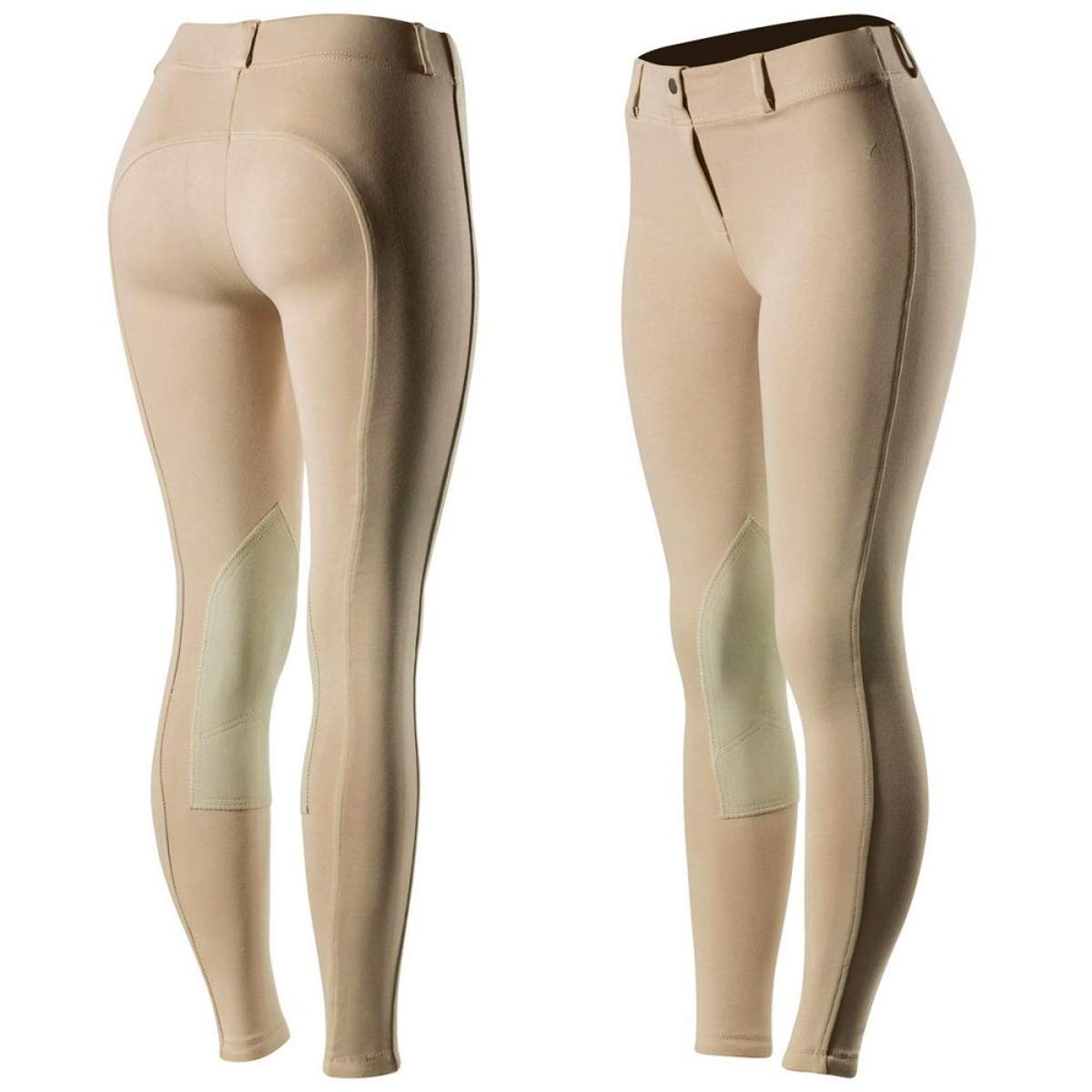 Horze Ella Women's Pull-On Knee Patch Breeches, Khaki, US 28,