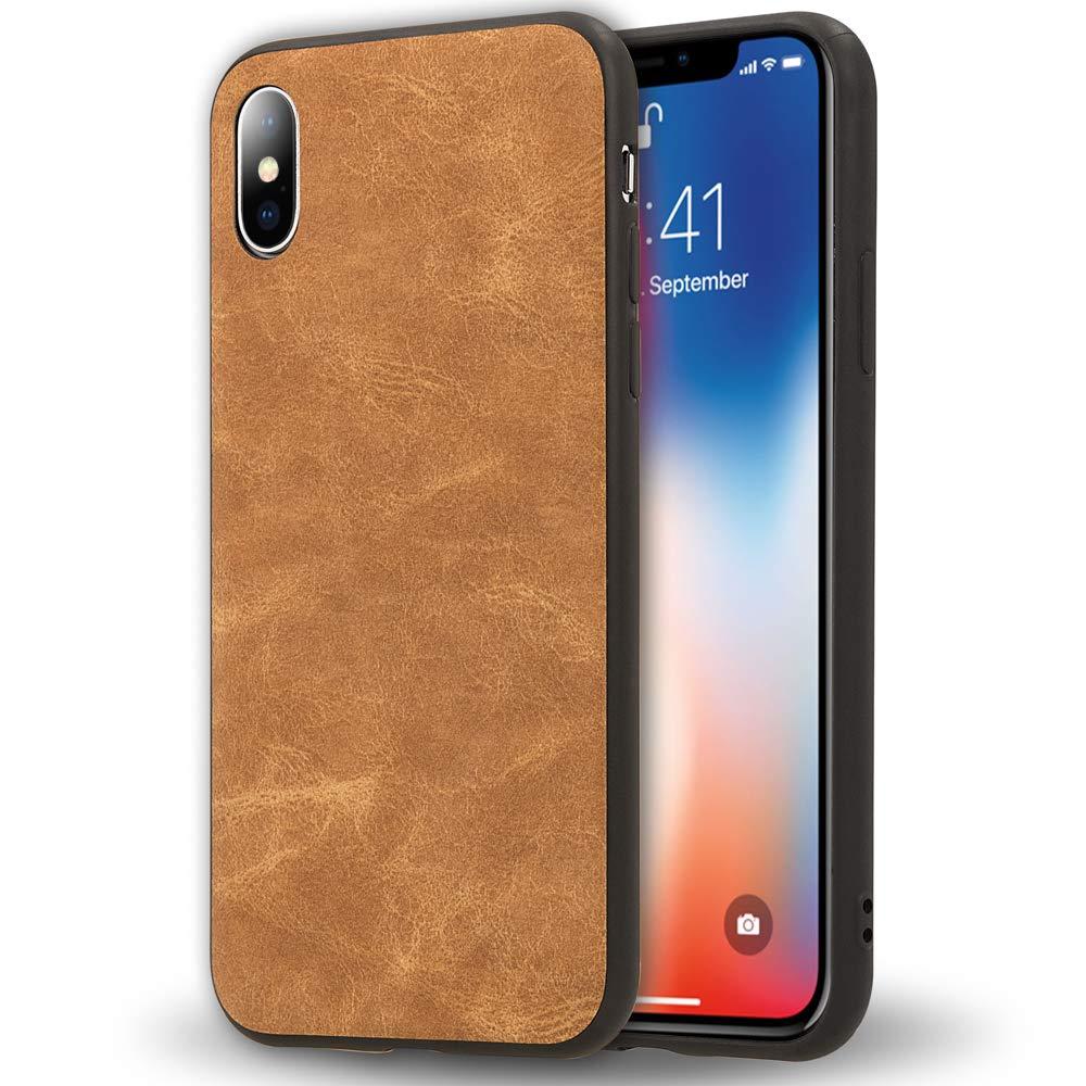 iPhone X Xと互換性のあるNALIAフェイクレザーケース、スリム保護カバー、スリムな超薄型耐衝撃レザーレットモバイルスマートフォンケース、PUバックカバープロテクターバンパー、カラー:ライトブラウン   B07DRLD82D