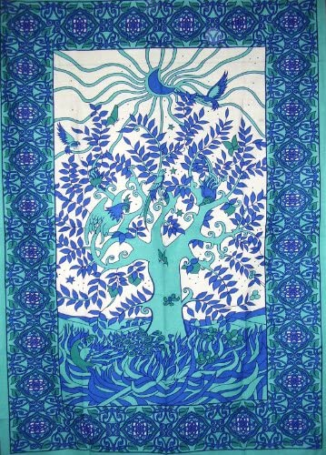 India Arts Tree of Life Tapestry Cotton Wall Hanging 80 x 60 Single Turquoise