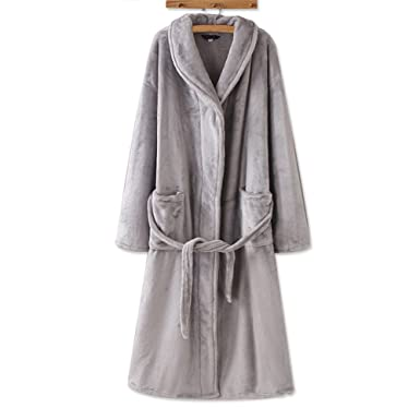 Women s Coral Fleece Bathrobe Soft Plush Winter Spa Robe Nightgown Pajamas  from WSSM S-Grey d8f40440f