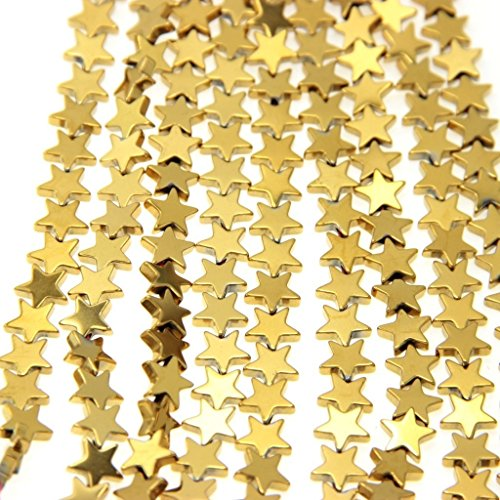 jennysun2010 Non-Magnetic Hematite Gemstone 6mm Gold Flat Star Spacer Loose Beads 15.5 inches 1 Strand for Bracelet Necklace Earrings Jewelry Making Crafts Design Healing
