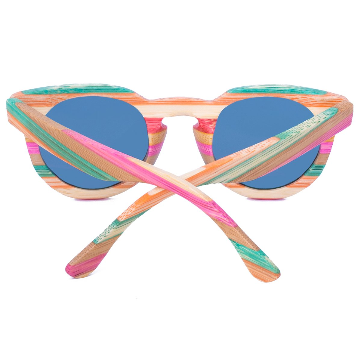 WISH CLUB Polarized Rainbow Wood Beach Round Sunglasses for Women mirrored Lenses Wooden Bamboo Sun Glasses for Girls Oval Colorful UV 400 Retro Lightweight Eyewear