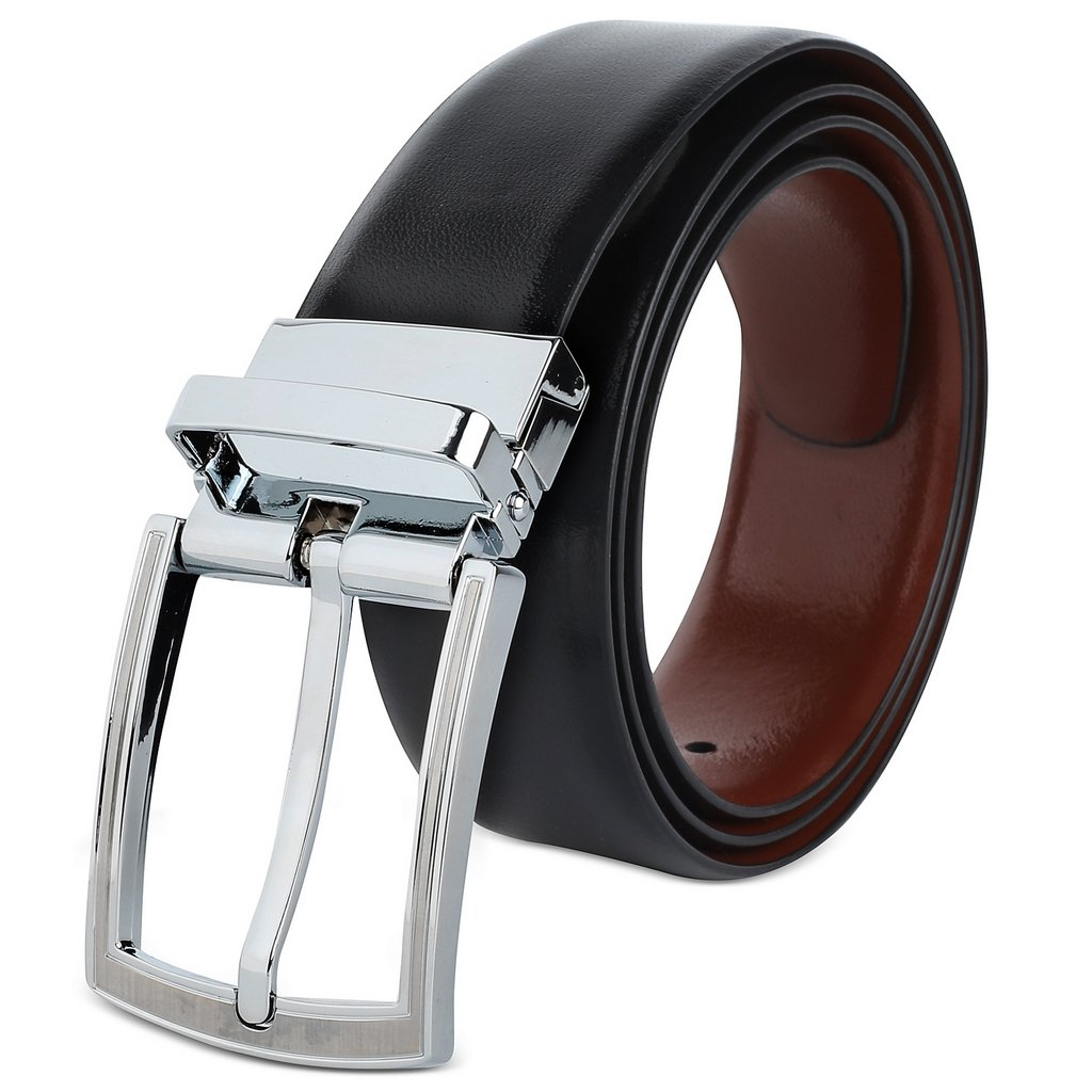 Savile Row Men's Reversible 100% Leather Classic Dress Belt_Size 44