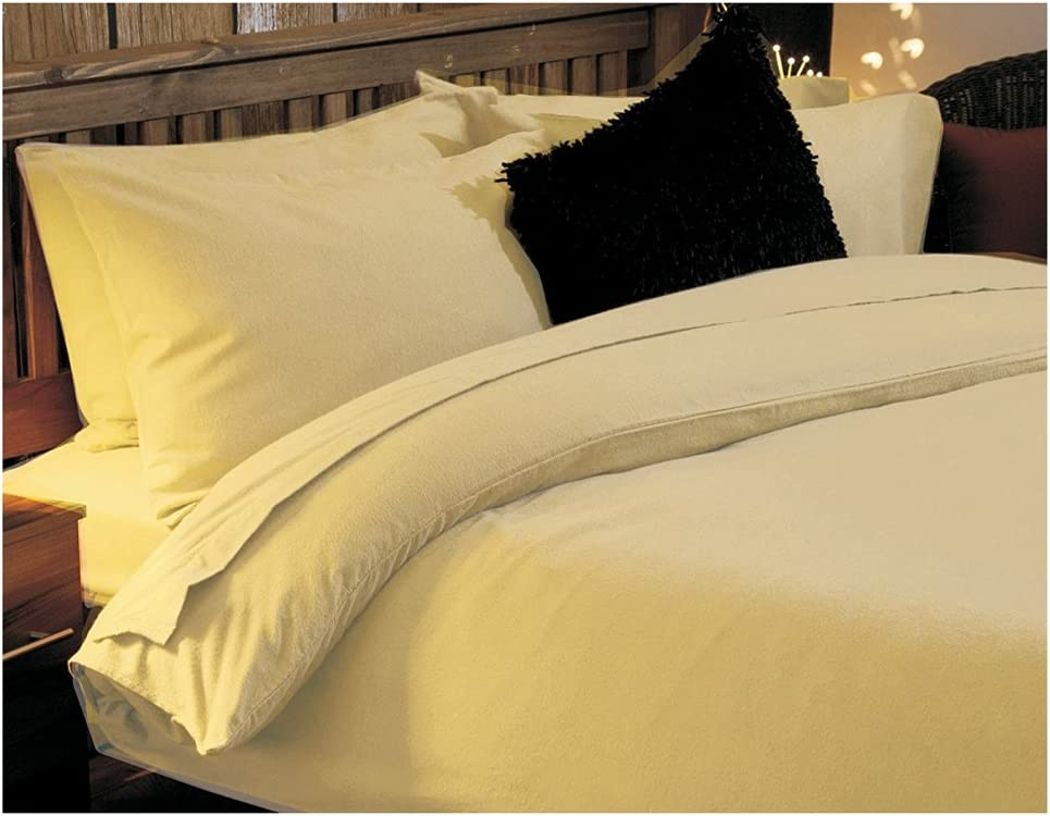 Brushed Cotton Double Bed Size Flat Sheet in Lemon