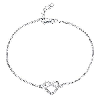 973e1ef1f077 JO WISDOM Pulsera Tobillera Mujer infinito Corazón plata de ley 925  cristales swarovski 18cm +2cm  Amazon.es  Joyería