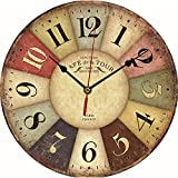Chunshop Vintage Wooden Wall Clock Large Shabby Chic Rustic Kitchen Home Antique Style (86 Colorful Clock)