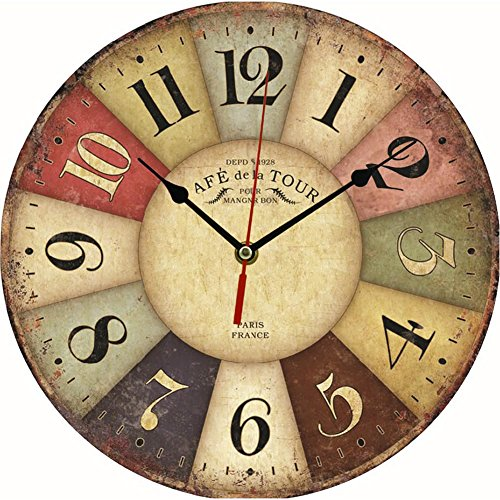 Above Antique Style Clock (Chunshop Vintage Wooden Wall Clock Large Shabby Chic Rustic Kitchen Home Antique Style (86 Colorful)