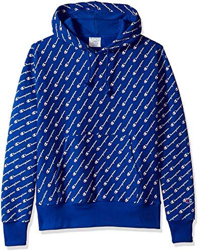Champion LIFE Men's Reverse Weave Pullover Hood-Print, Diagonal Script Surf the Web, Large