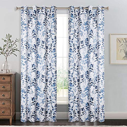 KGORGE Sun Blocking Print Curtains - Home/Office Artistic Décor with Vivid Watercolor Floral Painting, Thick Thermal Insulated Energy Efficient Shades for Sleep Protecting (Blue, 52