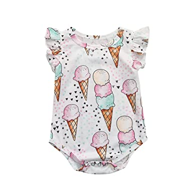6573e317108 0-18M Yamally Toddler Baby Girls Ice Cream Romper Ruffle Sleeve Bodysuit  Outfit Clearance Sale