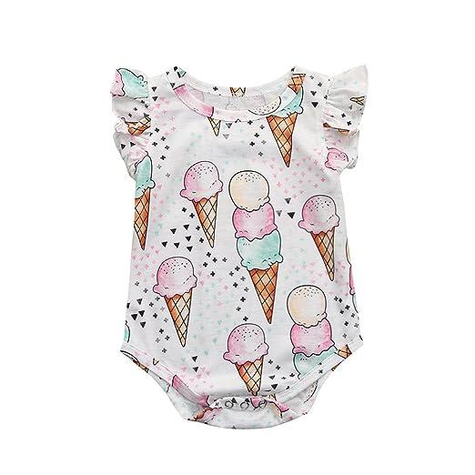 85d91612aa332 Amazon.com: Dsood Newborn Dress, 2019 Infant Baby Girls Cartoon Ice Cream  Print Romper Playsuit Ruffles Outfit: Clothing