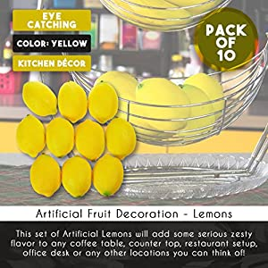 Juvale Fake Fruit Lemons - 10 Piece Artificial Fruit Decorations, Fake Fruit Decoration Still Life Paintings, Storefront, Kitchen Decor, Yellow, 3.7 x 2.5 inches 4