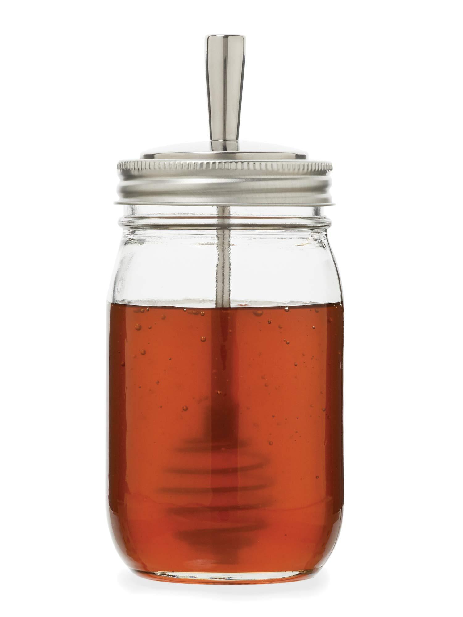 Jarware 82653 Metal Mason Jar Honey Dipper Lid Regular Mouth Stainless Steel