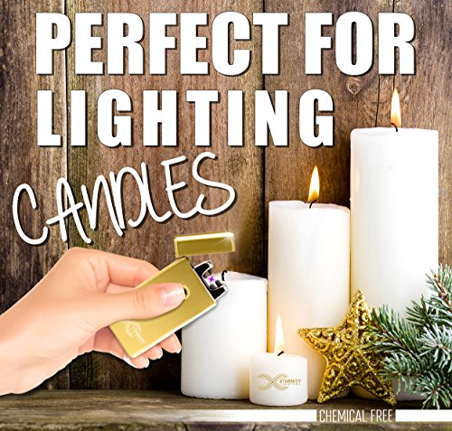 """ETERNITY Lightersâ""""¢: Flameless Electronic Rechargeable Windproof Premium Cigarette or Candle Lighter with Dual Arc, USB Cord, Brush, and Bag in Gift Box"""