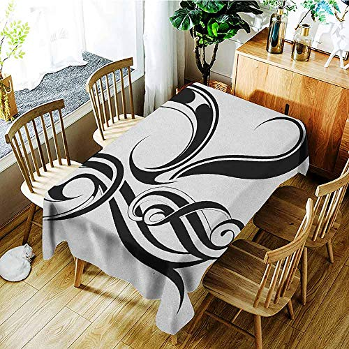 XXANS Fashions Rectangular Table Cloth,Letter R,Gothic Medieval Inspired Alphabet Font Capital R Calligraphic Design Illustration,High-end Durable Creative Home,W52x70L Black White ()
