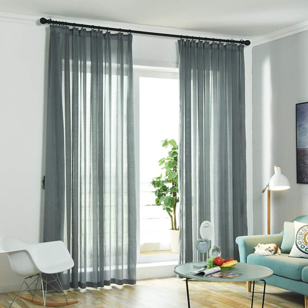 Amazon.com: Be&xn Solid Linen Sheer Curtain, Japanese Length ...