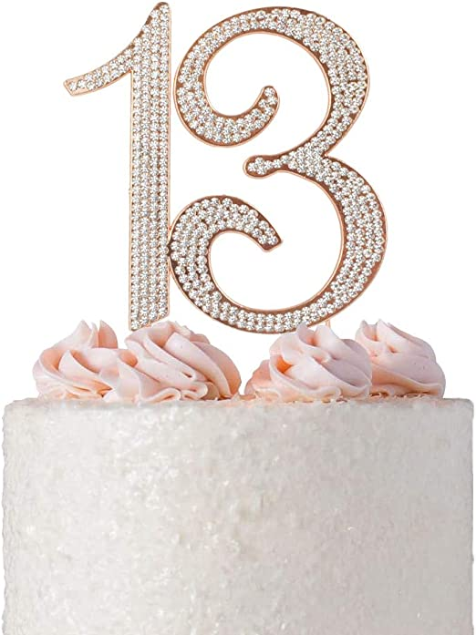 Tremendous Amazon Com Premium Metal Number 13 Birthday Rose Gold Rhinestone Funny Birthday Cards Online Elaedamsfinfo