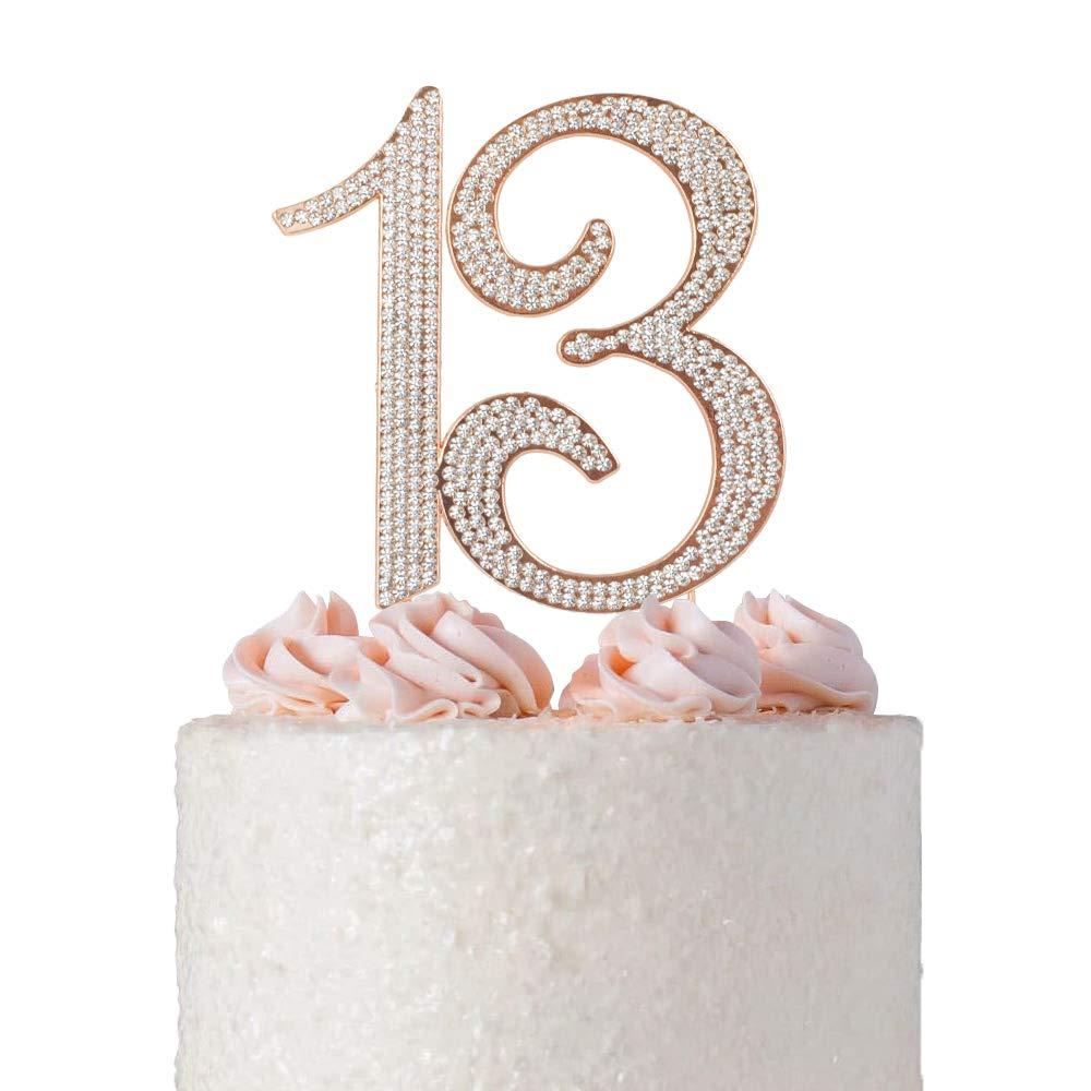 13 ROSE GOLD Cake Topper | Premium Bling Crystal Rhinestone Diamond Gems | 13th Birthday or Anniversary Party Decoration Ideas | Quality Metal Alloy | Perfect Keepsake (13 Rose)