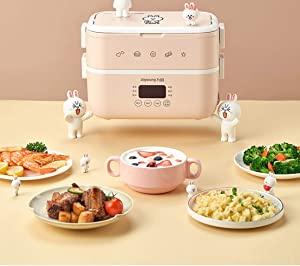220V 2 Layers Portable Electric Heating Rice Cooker Household Mini 1.5L Electric Multi Cooker Rice Cooker for Travel Office