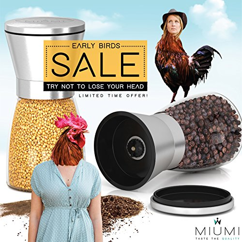 """Top Quality Salt and Pepper Grinder Set- Adjustable and Easy To Use! Stainless Steel Salt and Pepper Shakers, Large Capacity, Thick Glass Body And Adjustable Ceramic Rotor. Premium Spice Grinder 5.2"""""""