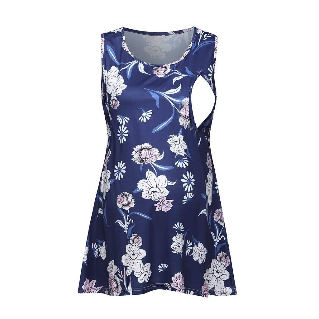 Nursing Shirts Breastfeeding Summer,Women Pregnant Sleeveless Floral Tops Breastfeeding Nusring Maternity Clothes,Women's Novelty Hoodies,Gray,L