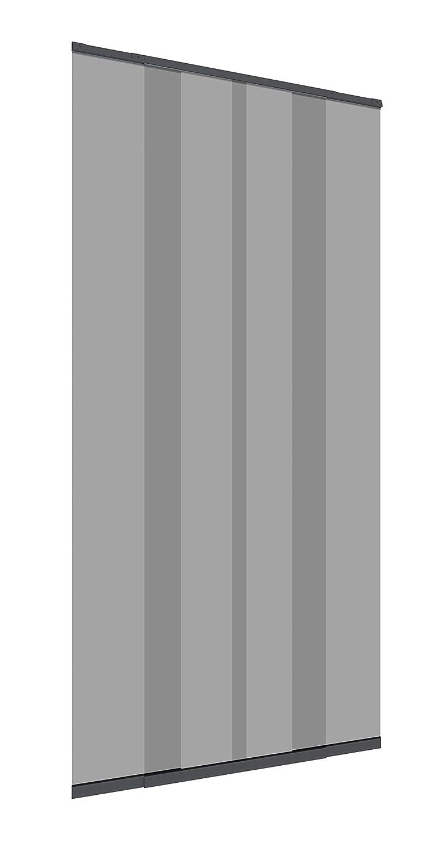 Windhager Insektenschutz Fliegengitter Tü rvorhang mit Teleskop-Lamellen 120 cm, Anthrazit,  03612