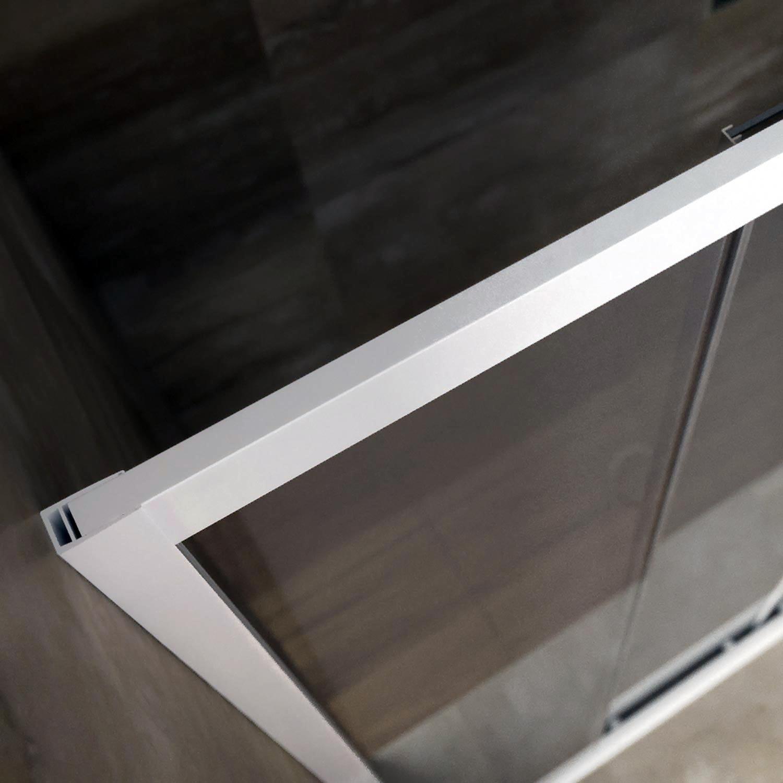 F.T Porta Doccia Nicchia in PVC 100 CM H190 Vetro Stampato Cincill/à MOD Glax 1 Anta Profilo Bianco
