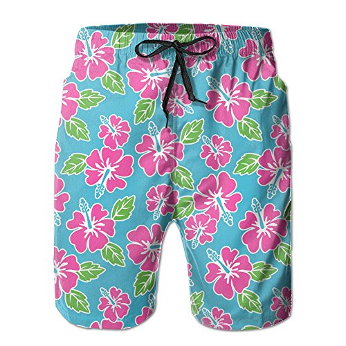 Price comparison product image Hawaii Flower Print Pattern Mens Quick Dry Breathable Beach Shorts