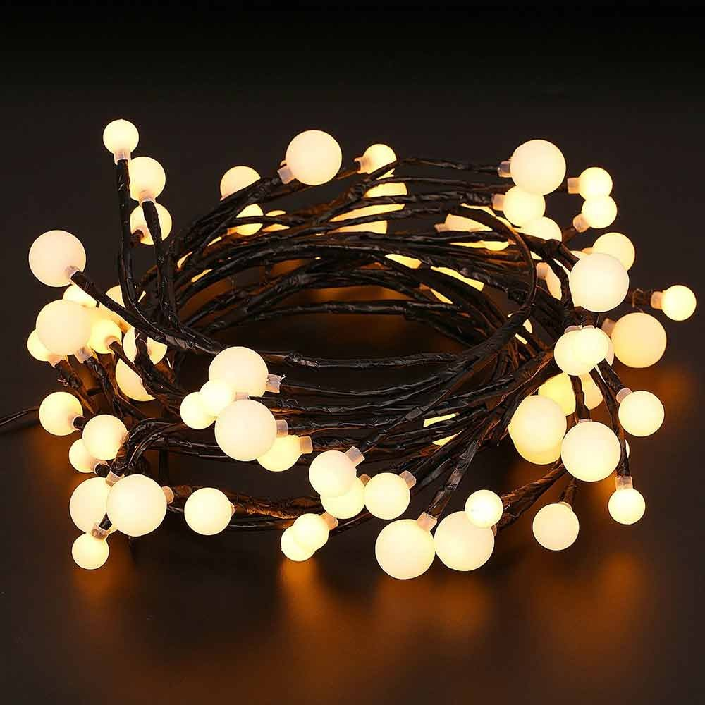 AUA Globe String Light Ball Fairy Light 8.2ft 72 LED Waterproof Starry Light with 8 Modes for Bedroom Garden Patio Christmas Wedding Party Warm White Black Copper Wire