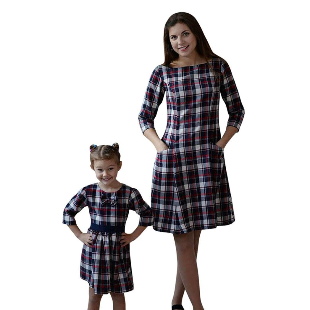 Tenworld Matching Mother Daughter Dresses, Plaid Long Sleeve Mommy and Me Dress