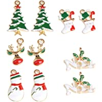 MagiDeal 10 Pieces Mixed Enamel Christmas Charms Pendants DIY Xmas Jewelry Gifts Crafts Decorations Xmas Tree Snowman Holly Deer