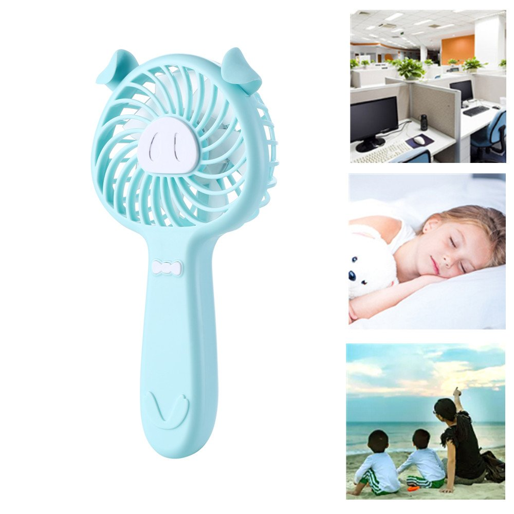 Businda USB Noiseless Handhold Fan,3 Speed Adjustable Rechargeable Mini Little Pig Cooling Fans with Summer Battery Operated Fan for Travelling,Outdoor,Office(Pink)