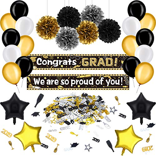 36 Pieces Graduation Party Decoration Kit Black and Gold Graduation Party Suppliers Congrats Grad Banner, Graduation Balloons, Pom Poms Flowers and Confetti for Class of 2019