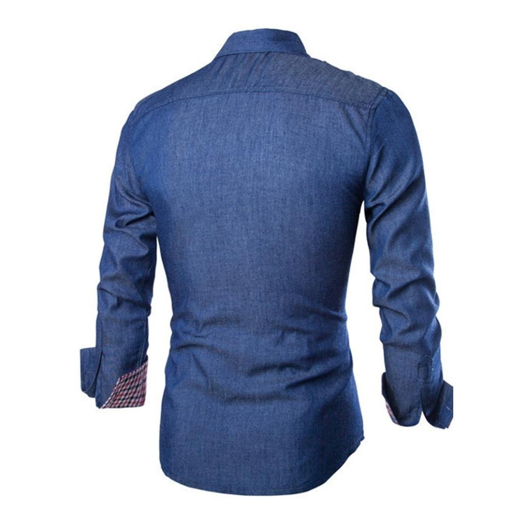 22eab7f4600a2 Chemise en Jean, Internet Homme Casual Chemise à Manches Longues Affaires Slim  Fit Shirt Chemisier Top  Amazon.fr  Vêtements et accessoires