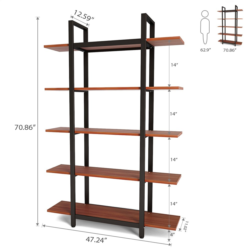 Tribesigns 5-Tier Bookshelf, Vintage Industrial Style Bookcase 70 '' H x 12'' W x 47''L, Cherry