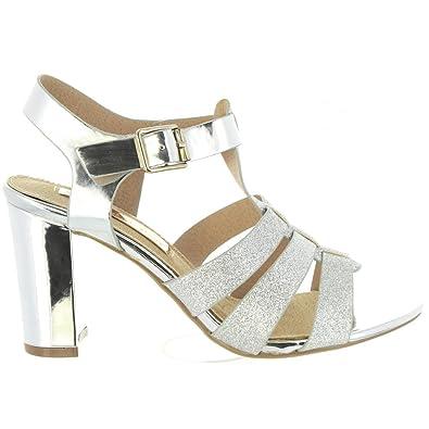 7af54fc2ba9 Xti Sandales Pour Femme 30615 Glitter Plata  Amazon.fr  Chaussures ...