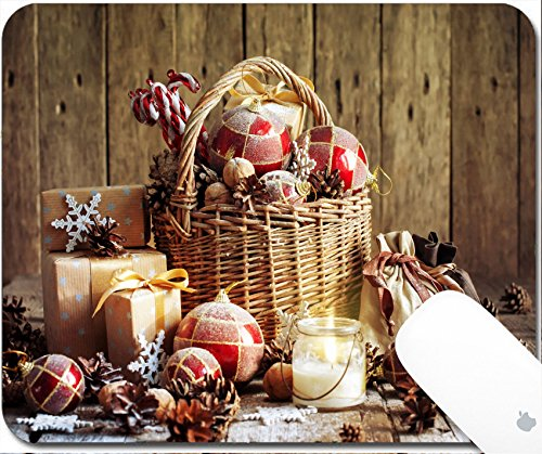 Luxlady Gaming Mousepad 9.25in X 7.25in IMAGE: 33968929 Christmas Basket with Vintage Gifts and Shining Candle Red balls Pine cones Snowflakes Boxes on Wooden Table Warm Toned effect (Balls Cristmas)